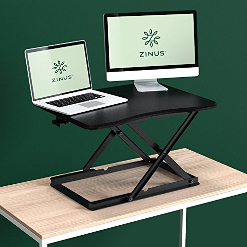 "Zinus Molly Smart Adjust Standing Desk / Height Adjustable Desktop Workstation / 28"" x 21"" / Black"