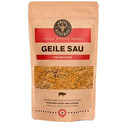 BBQ-Rub Gewürzmischung Geile Sau von Grill Republic/BBQ-Gewürz für Schweinefleisch/Premium Schweinefleisch-Gewürz für Spared Ribs/für Smoker, Grill, Ofen und Pfanne/250g