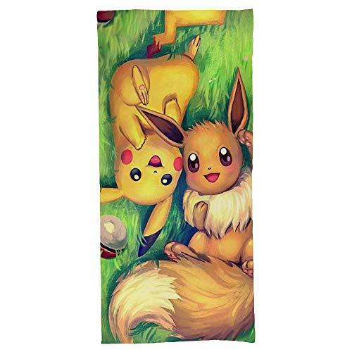 hoist Toalla de playa Pokémon, gruesa, suave, de secado rápido, ligera, absorbente, manta de 70 x 140 cm
