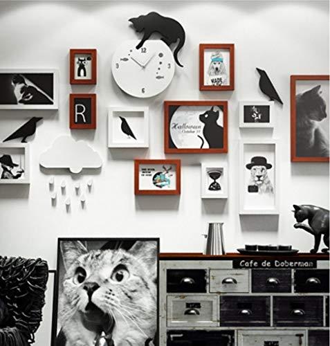 Jjek K- fotolijst Fotobehang Creatieve Huisdier Fotowandklok Decoratie Frame Kat Combinatie fotolijst Set Geschikt voor Sofa Woonkamer Slaapkamer Multi-frame Display Stand 15 Sets