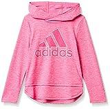 adidas Girls' Long Sleeve Hooded Tee T-Shirt, Semi Solar Pink, 5