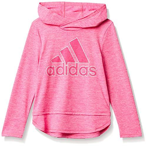 adidas Long Sleeve Hooded tee T-Shirt Camiseta, Semi Solar Rosa, 6X para Niñas