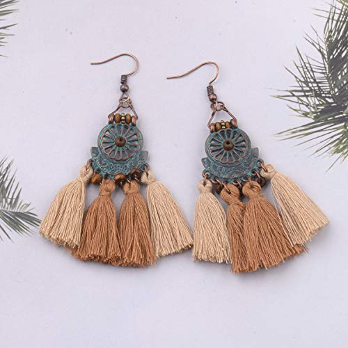 Joyería eólica nacional hecha a mano nuevo viento bohemio exquisito hierro hueco perla de arroz B