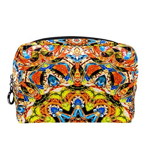 Kosmetiktasche Reise-Toilettenartikel für Frauen Tägliche tragbare Reißverschlusstasche mit Reißverschluss,Symmetrisches Schmelzen Buntes Kaleidoskop