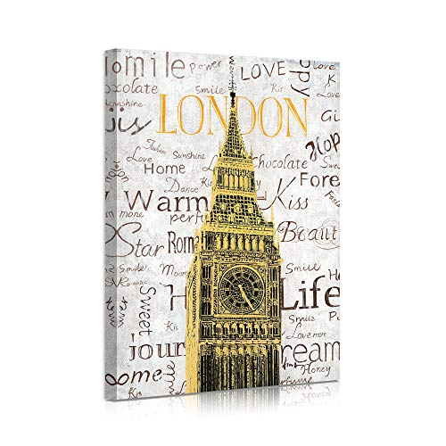 B BLINGBLING London City Canvas Wall Art, Gold Big Ben Clock Building with Inspirational Words Picture, Modern Famous Landmarks Framed Canvas Print for Bedroom Home Office Decor 12