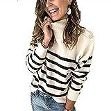 SLYZ 2020, Suéter De Punto Revisado para Otoño Invierno para Mujer, Jersey De Cuello Alto, Suéter A Rayas con Botones Y Correa para El Hombro para Mujer