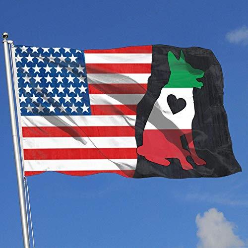fingww Yard Banner Italienische Flagge Deutscher Schäferhund Herz Familienfeier Flagge Hof Lebendig 90X150Cm Standard Design Retro Ganzjährig Haus Banner Garten Flagge Land Banner Flagge