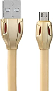 REMAX Laser Data Cable for Mobile Phone Micro USB Transfer Cable 2.1A Charging Flexible Charger Cable RC-035m,Gold