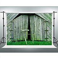 写真の新しい素朴な納屋のドアの背景7x5ft木製ドア草ヴィンテージ背景写真ブーススタジオ小道具 577