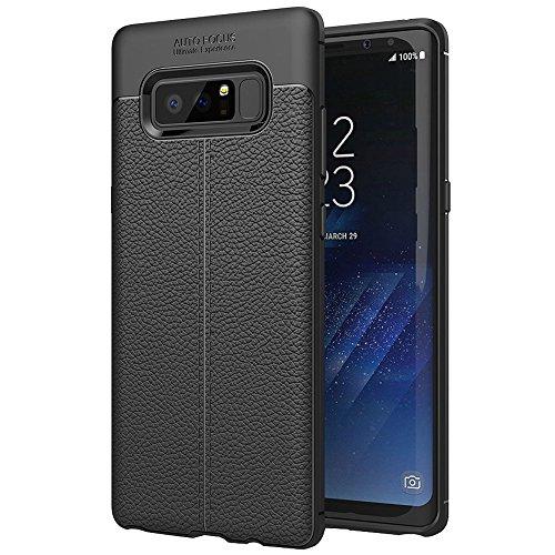 getyourcase wortek, beschermhoes, compatibel met Samsung Galaxy Note 8, hoes, lederlook, siliconen, telefoonhoes, lederdesign, TPU-case in zwart