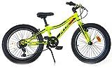 giordanoshop Bicicletta Fat-Bike Ragazzo 20' 6V Aurelia MTB Plus Gialla