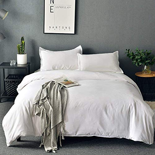SORMAG White Duvet Cover Queen ,Microfiber 3 Piece Bedding Set ,Solid Color- Ultra Soft with Zipper Close & Corner Ties(90'x90')