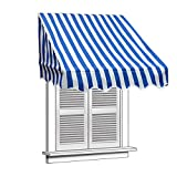 ALEKO 6x2 Feet Blue/White Stripe Window Awning Door Canopy 6-Foot Decorator Awning