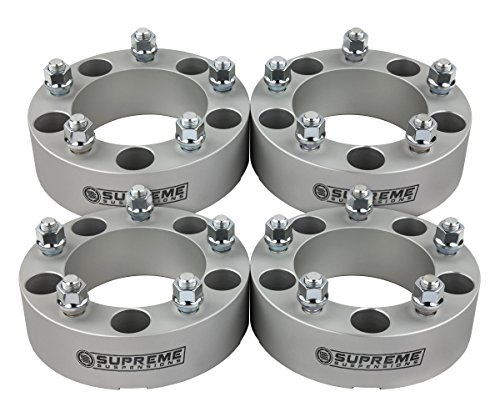 """Supreme Suspensions - 4x 1.5"""" Wheel Spacers for 1976-1996 Ford F150 Wheel Adapters 5x5.5 to 5x4.5 with 1/2""""x20 Studs [Silver] 5x4.5 Wheels on F150"""