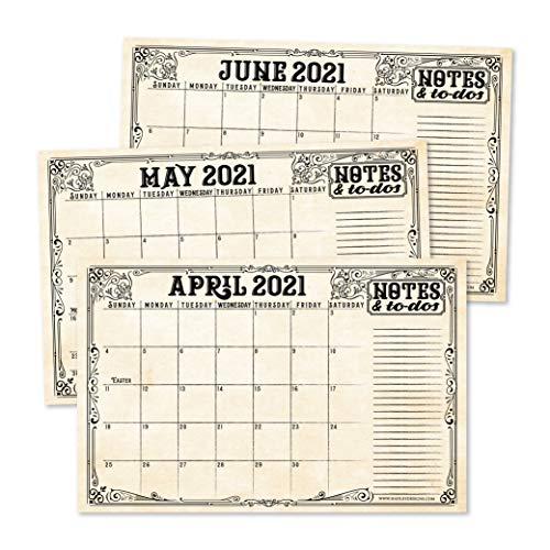 Vintage 2021-2022 Desk Calendar Large Monthly Wall Planner 18 Month Academic Desktop Calendar or Fridge Planning Blotter Pad Elegant Notes Section for Teacher Family or Business Office 11x17