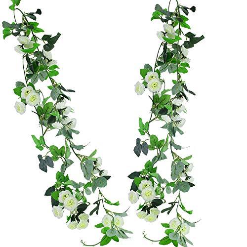 HUAESIN 2 Stück Künstliche Blumengirlande Hängende Kunstblumen Girlande Kunstseide Rosen Girlanden mit Blätter für Hochzeit Party Außen Fahrrad Wand Dekoration Weiß 235cm