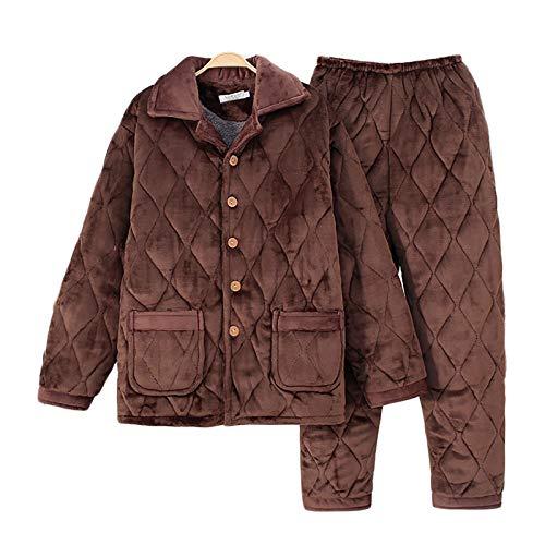 YLHLZZ Traje de Invierno Caliente, Chaqueta + Pantalones de algodón de algodón, de 3 Capas engrosadas, además de Terciopelo Chaqueta, se Puede Lavar a Mano o en la Lavadora Coffee-XL