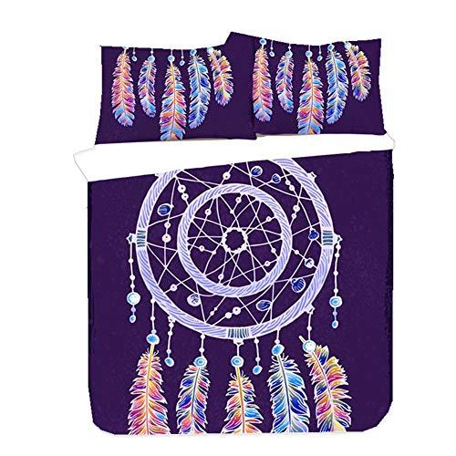 WENYA Duvet Cover Set Dreamcatcher Indian Bohemia Bedding Set Black Blue Purple Duvet Cover and Pillowcase Galaxy Mandala Microfiber Boy Girl (Purple 1,135x200 cm)