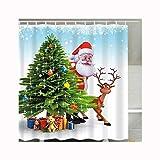 AueDsa Duschvorhang Polyester Waschbar Duschvorhang Wasserdicht Anti Schimmel Weihnachtsmann Weihnachtsbaum Rot Grün Duschvorhang Antibakteriell Anti Schimmel 165x180CM