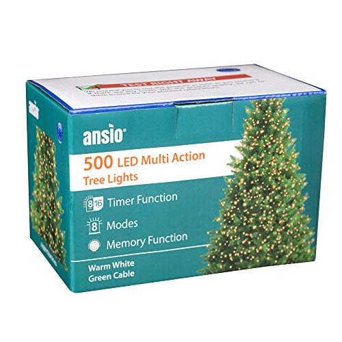 ANSIO Luci natalizie per interni e esterno 500 LED albero luci bianco caldo, 8 modalità con memoria e funzione timer, alimentate, trasformatore incluso 12,5 m Lunghezza illuminata- CAVO VERDE