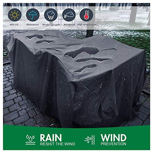 Housse de Protection Imperméable pour Meubles de Jardin   Housse de Table de Jardin Respirante Rectangulaire  Pluie/Anti-Vent/UV/Poussière 420D Oxford Tissu   Noir (Size : 325x208x58cm)