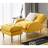 oneinmil Fabric Recliner Chair Adjustable Home Theater Seating Single Recliner Sofa with Ottoman Modern Living Room Recliners (Yellow)