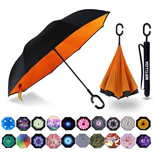 MRTLLOA Double Layer Inverted Umbrella with C-Shaped Handle, Anti-UV Waterproof Windproof Straight Umbrella for Car Rain Outdoor Use (N-Orange)