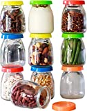 Hatrigo 4 oz Clear Glass Jars With Lids, 10-Piece Glass Yogurt Jars Set with Color Lid, Reusable Small Glass Jars Containers for Baby Food Storage, Canning Jars, Pudding Cups, like Mason Jars 4 oz
