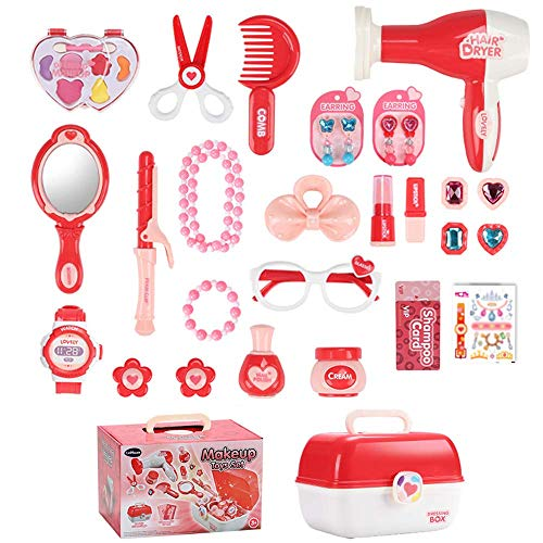 Pretend Play Makeup Toy Beauty Cosmetic and Jewellery Set Box Princess Hair Dressing Up Kit Vanity Case 30 Pcs Educational Toy Ideal Birthday for Kids 3+