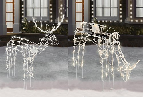 """2-Piece Lighted Animated Holiday Deer Family - 48"""" Animated Buck and 42"""" Animated Doe - 210 Clear Lights"""