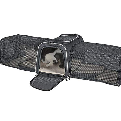 4YANG Pet Carrier, Dual-Sided Expandable Pet Bag with Dual Side Inner Pad, Memory Metal and Breathable Mesh, Portable Pet Travel Bag for Dog Cat