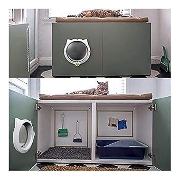 Chatière pour Chat chatière magnétique chatière, Ronde, chatières pour Portes en Bois, Convient aux Petits Chiens et Chats, Blanc