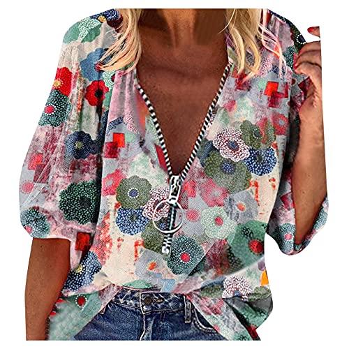 Sudadera de manga larga para mujer, estilo casual, talla grande, con cremallera, botones sueltos, túnica, informal, para otoño, K433, c, XL