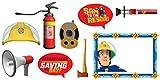 amscan- Fireman Sam Accesorios para Fotos con Sombrero y Hacha de Bombero (9 Piezas) – 1 Paquete (10119844)