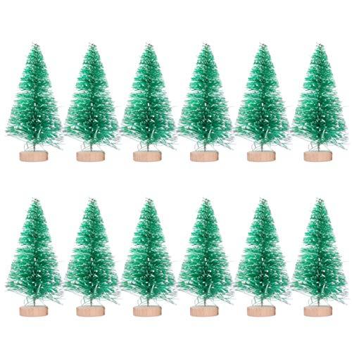 Amosfun 12 pz Mini Alberi di Pino Alberi di sisal Albero di Natale in Miniatura con Base in Legno Decorazioni Natalizie per Desktop 8 5 cm (Verde)