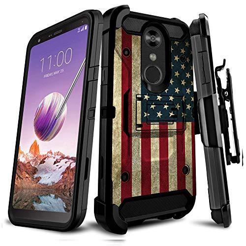 Untouchble   Compatible with LG Stylo 4 / LG Q Stylus/LG Stylo 4 Plus, Heavy Duty [Tank Series] Built Tough Triple Protection Inner TPU Two Piece Hard Shell Belt Clip - Vintage American Flag