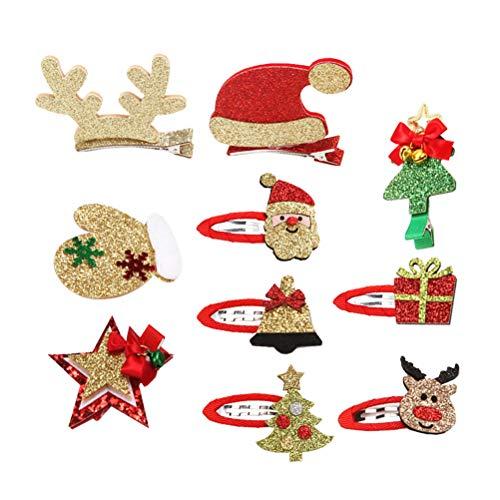 Frcolor 10pcs Pinzas para el Cabello de Navidad Horquillas para el Cabello Barrettes Accesorios para el Cabello...
