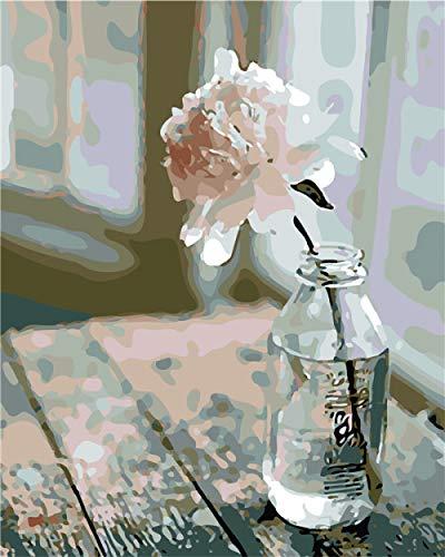 YTRFGH Bricolaje Kit De Pintura por Números, Pintar por Numeros sobre Lienzo para Adultos Niños Principiantes - Flor En Una Botella -16 * 20Pulgadas(SinMarco