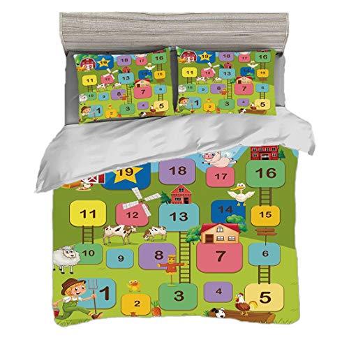 Bettwäscheset Doppelte Größe (200 x 200 cm) mit 2 Kissenbezügen Brettspiel Mikrofaser-Bettwäsche-Sets Verschiedene farbige quadratische Block-Zahl-Leitern-Landwirt Boy Field Agriculture Decorative,Mul