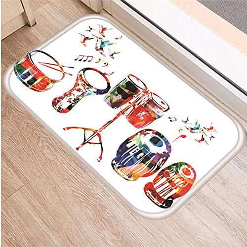 Alfombra antideslizante con patrón de instrumentos musicales, alfombrilla para puerta, alfombrilla para puerta, alfombrilla para el suelo de la sala de estar, cocina al aire libre, alfombra A6 40x60cm