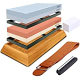 Knife Sharpening Stone Set - 4 Side Grit 400/1000 3000/8000 Wet Stone Sharpening Kit, Wet Sharpener Waterstone - Sharpener Kit with Non-slip Bamboo Base, Flattening Stone, Angle Guide, Leather Strop