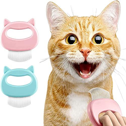 【2枚入】猫用ブラシ ペット脱毛櫛 猫マッサージくし ペット脱毛ブラシ つや消しのもつれた毛皮と緩い髪を取り除くための猫と犬のためのペットの毛皮のグルーミングブラシ (ピンク+グリーン)