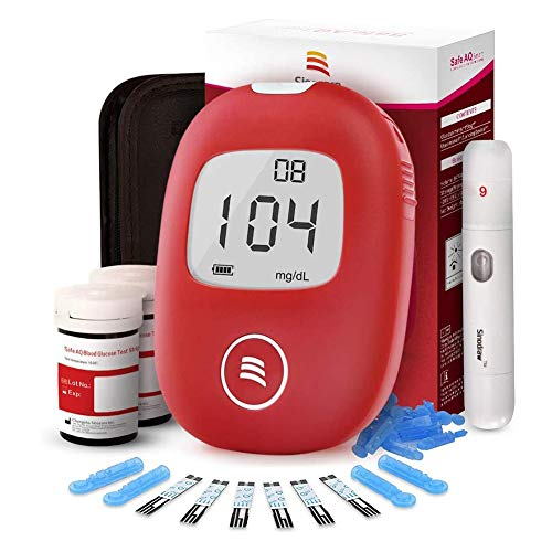 Blutzuckermessgerät, Diabetes Test Kit, Blutzuckermessgerät Kit mit 50 Streifen eingeschlossen und 50 Pain Free Lancing Gerät, for Diabetiker (Color : Suit)