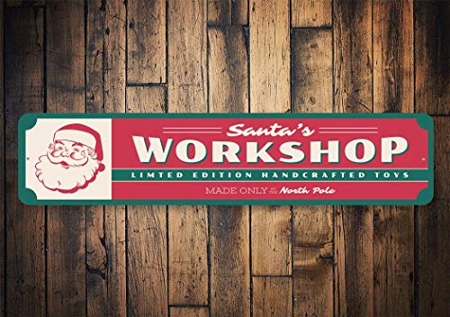43LenaJon Santas Workshop Santa Workshop Sign Workshop Decor Christmas Workshop Decor for Santa Made in North Pole Quality Aluminum Holiday Sign