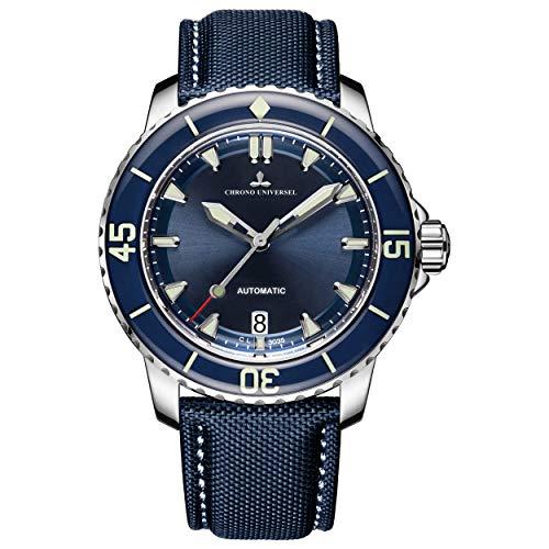 Chrono Herren-Armbanduhr, Universal, Automatik, Stahl 316L, Hartglas, Lederarmband