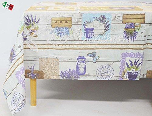 R.P. Tafelkleed keuken woonkamer eetkamer zeep Provence - Made in Italy 100% katoen - paars - rechthoekig cm 140 x 180 (6 personen)