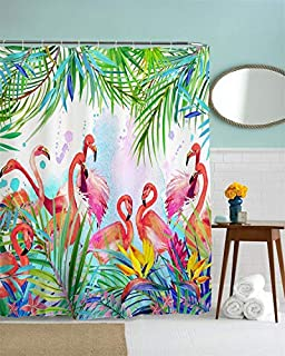 BJHAP Tropical Floral Shower Curtain, Pink Flamingos with Green Tropical Leaves and Flowers Waterproof Polyester Fabric Bathroom Shower Curtain Set with 12pcs Hooks-60x72 Inches