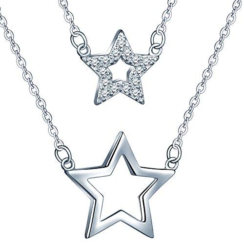 Collar doble de plata de ley 925 con dos estrellas (una de ellas decorada con circonitas cúbicas), de Infinite U