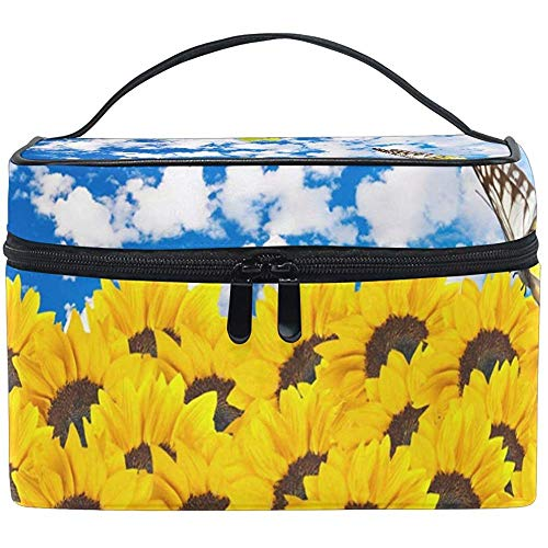 Cosmetic Bag, Sunflowers with Butterfly Travel Makeup Organizer Bag Cosmetic Case Portable Train Case