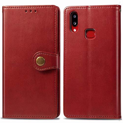 Mingxian For Galaxy A10S Cuero Color Hebilla Teléfono Retro sólido con Correa y Marco de la Foto y la Tarjeta de Ranura y Monedero y Soporte de Funciones (Brown) (Color : Red)